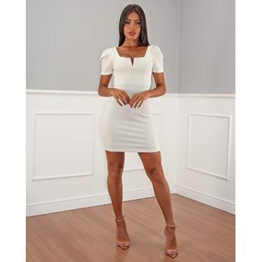 Vestido Limone justo aberto costas Off White/P/OFFWHITE