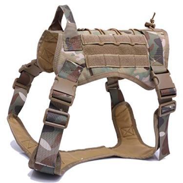 Imagem de Peitoral tático militar para cães, clipe frontal, aplicação da lei, K9, colete durável para cães pequenos e grandes, nylon 1000D