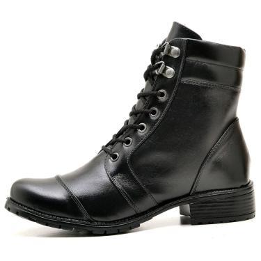 Bota Click Calçados Coturno Couro Preto Bico Redondo  feminino
