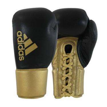 Luva De Boxe Muay Thai Hybrid 400 Pro Lace Preto Com Dourado 18 Oz Adidas