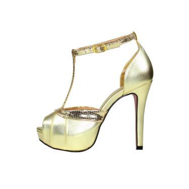 Sandália Salto Alto Week Shoes Meia Pata Laminado Croco Dourado  feminino