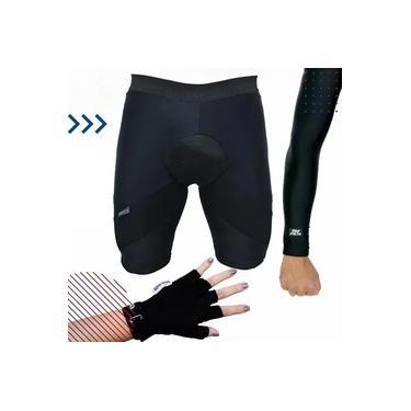 Kit de Ciclista - Bermuda Térmica de Ciclismo Acolchoada + Luva de Proteção Para Ciclismo + Manguito de Proteção