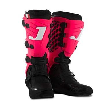 Bota Motocross Articulada Jett Hi-Vis Preta/Rosa