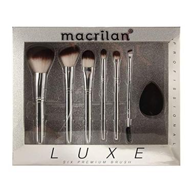 Kit Luxe com 6 pincéis profissionais e 1 esponja para maquiagem - ED002, Macrilan
