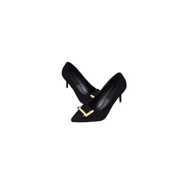 Sapatos femininos de salto alto com bico fino e corte baixo em camurça Sapatos nus totalmente combinados