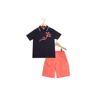 Conjunto Kyly Camiseta Polo e Bermuda Avião Bordado Preto e Coral 108125