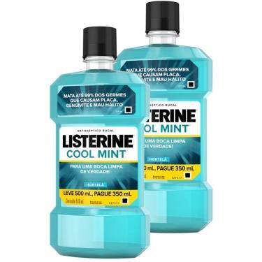 Kit com 2 Antissépticos Bucal Listerine Cool Mint Leve 500ml Pague 350ml