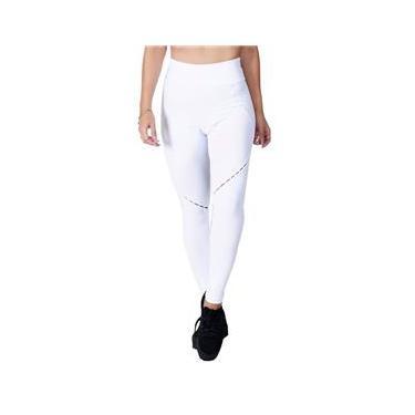 Imagem de Calça Legging Fitness Branca com detalhes nas pernas Poliamida Ref 5027B