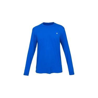Camiseta Masculina Curtlo Active Fresh Manga Longa Azul Royal
