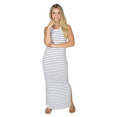 Imagem de Vestido Longo Regata Listrado Feminino Fenda Na Lateral Moda (BRANCO, GG)