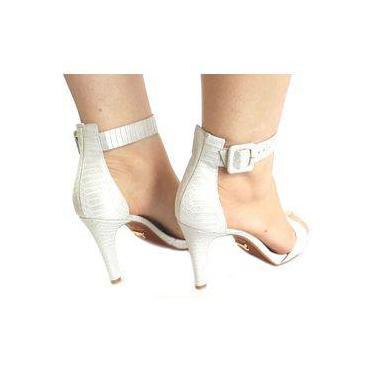 b907a2981 Sandália Salto Fino Shoptime aplique   Moda e Acessórios   Comparar ...