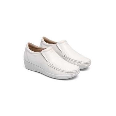Sapato Feminino confort couro sola Anabela 80 mager branco