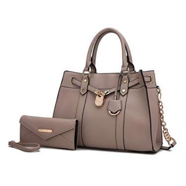 Bolsa tiracolo transversal MKF para mulheres e bolsa de pulso – Bolsa de mão de couro PU com alça superior, Taupe, Large