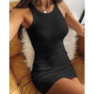 Leeofty Minivestido feminino sem mangas vestido regata elástico com nervuras sólido Bodycon vestido de clubes de festa