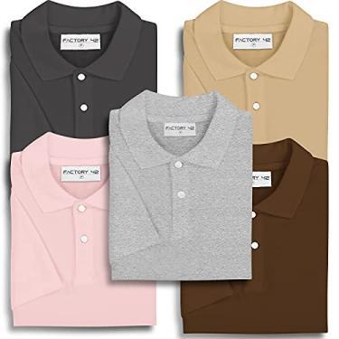 Imagem de Kit 5 Camisas Polo Masculina Lisa Factory 42 (Marrom, bege, rosa claro, mescla, chumbo, M)