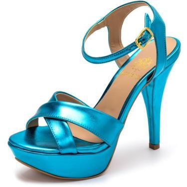 Sandália Tamanco Plataforma Especial Salto Alto Fino Em Azul Serenity Metalizado  feminino