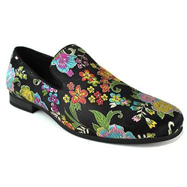 Sapatos masculinos sem cadarço multicoloridos bordados da ÃZARMAN, Preto, 8.5