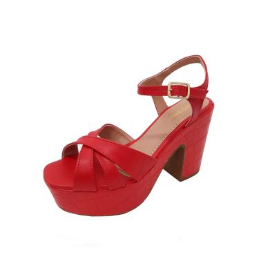 Imagem de Sandália Chyrrô Calçados Plataforma Croco/Napa Vermelho -  feminino