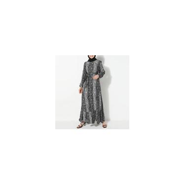 Zanzea Mulheres Muçulmanas de Mangas Compridas Cobra Impresso Moda Vestidos Compridos Elegantes com Cinto Vestido Solto Cinzento L