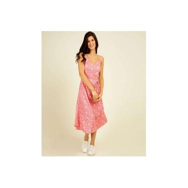 Vestido Feminino Midi Estampa Floral Alças Finas Marisa