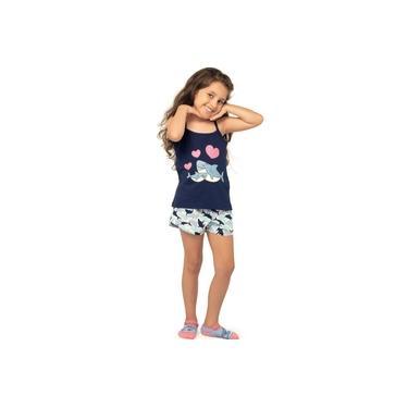 Pijama Infantil Curto Shortdoll Menina Arazul DeMillus 220233 Marinho