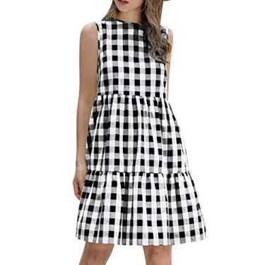 WonderBabeVestido feminino casual xadrez sem mangas com tops sem mangas, decote redondo, mini vestido de manga curta pregueado com linha A Preto-S