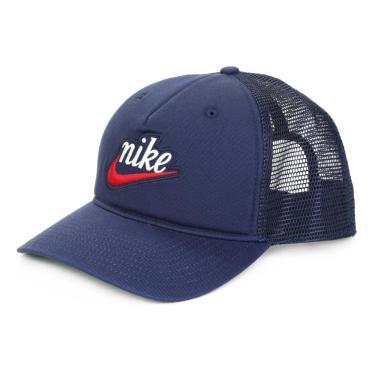 Boné Nike Aba Curva NSW CLC99 Trucker CI3198-410, Cor: Azul Marinho/vermelho, Tamanho: U