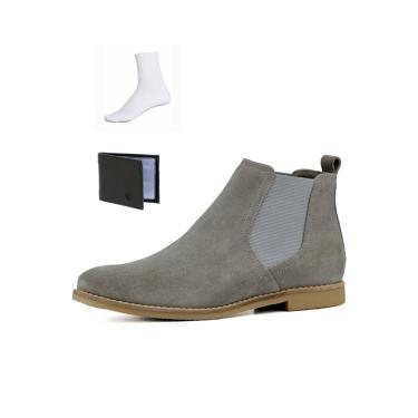 Bota Chelsea Boots Confortável Escrete Couro 502 Cinza + Brinde  masculino