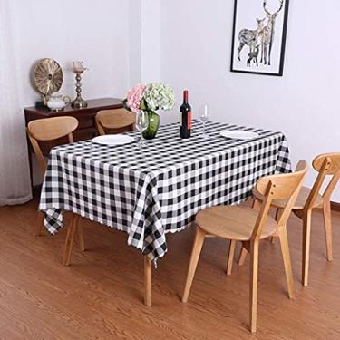 Imagem de Toalha de mesa retângulo 80 * 120 cm, Toalha de mesa de vinil retângulo com suporte de flanela, para decoração de festas descartável, tampa de mesa de jantar quadrada de plástico, à prova d'