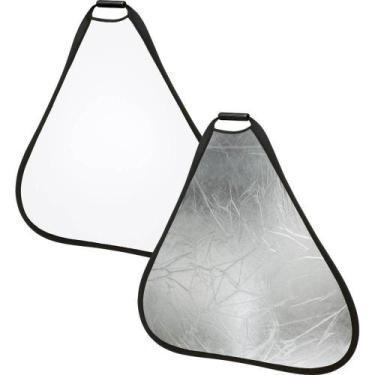Imagem de Rebatedor Triangular 2 Em 1 Branco E Prata De 60Cm Com Alça - Worldvie