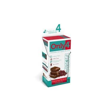 Chocolate Only4 70% - Cranberry Sem Lactose Caixa com 6 un de 80g