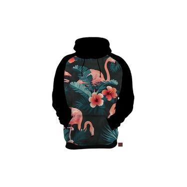 Blusa De Frio Moletom Flamingo Aves Flores Floral Estampas
