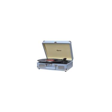 Vitrola Retrô Raveo Sonetto Chrome Ocean, Toca Discos, Entrada USB, Bluetooth, Reproduz e Grava Vinil