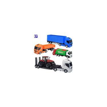Imagem de 4 Caminhão Brinquedo Plataforma Com Trator + Caçamba + Baú