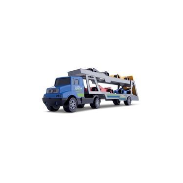 caminhão de brinquedo cegonheira com 4 carros de formula 1 samba toys