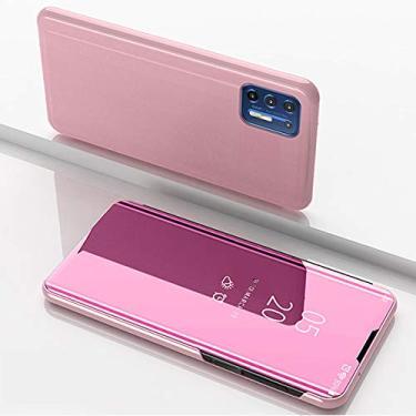 """Hicaseer Capa para Moto G9 Plus, capa ultrafina inteligente Flip Perspectiva espelhada, capa protetora moderna com função de suporte para Motorola Moto G9 Plus 7,8"""" - Ouro rosa"""