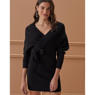 vestido transpassado tricot Feminino AMARO PRETO PP