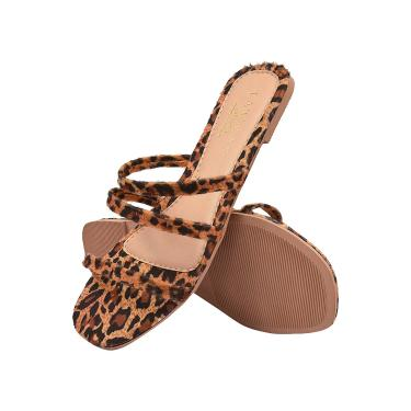 Imagem de Sandália Rasteirinha Tiras Latikas Shoes Conforto Onça  feminino