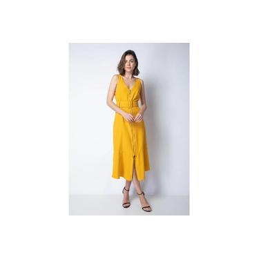 Vestido Midi com Cinto Zíper Frontal Enna Brand