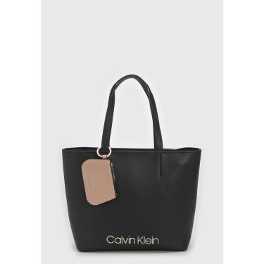 Bolsa Calvin Klein Logo Preta Calvin Klein K60K605481 feminino