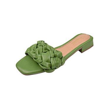Sandália Tamanco Mule Tranças Dona Madame Tamanho:34;Cor:Verde