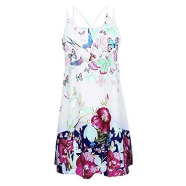 Imagem de Vestidos femininos de verão para praia com estampa floral 3D de borboleta, sem mangas, vintage, boêmio, curto, Branco, XXG