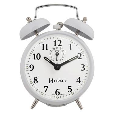 Imagem de Relógio Despertador A Cordas Branco Campainha Forte Herweg