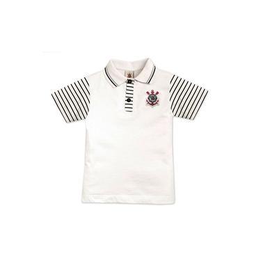 Camisa Polo Revedor Corinthians M.malha Menino Branco E Preto
