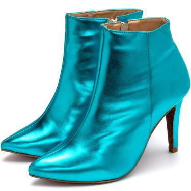Bota Cano Curto Bico Fino Com Zíper Em Azul Serenity Metalizado  feminino
