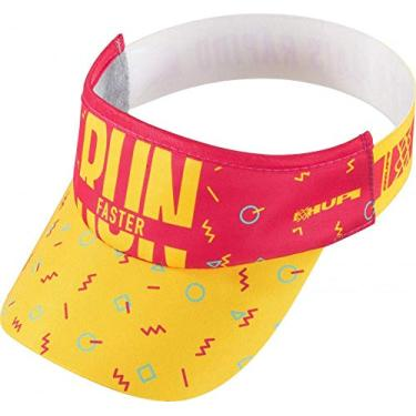 Viseira para Corrida Hupi Run Faster, Cor: Amarelo/rosa, Tamanho: Único