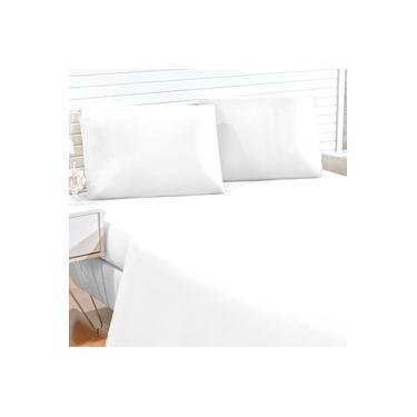 Imagem de Jogo de Cama Branco Liso King Size 4 peças Tecido Microfibra 170 Fios