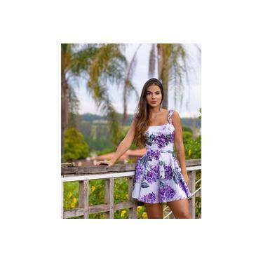 Vestido Miss Misses Rodado Floral com Amarração Lilás