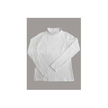 Blusa Feminina Manga Longa Gola Alta Branca Káktos 6185a4ac060