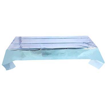 Imagem de TOYANDONA Toalha de mesa brilhante de plástico descartável retangular metálico Tinsel toalhas de mesa para feriados, casamentos, festas de aniversário, decoração azul-celeste